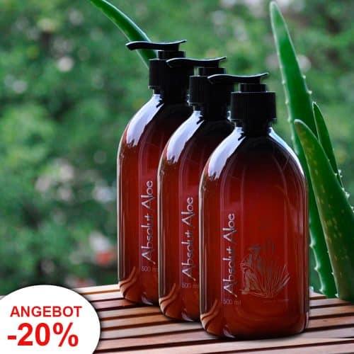 Angebot 3 Flaschen Bio Aloe Vera Gel Fuerteventura