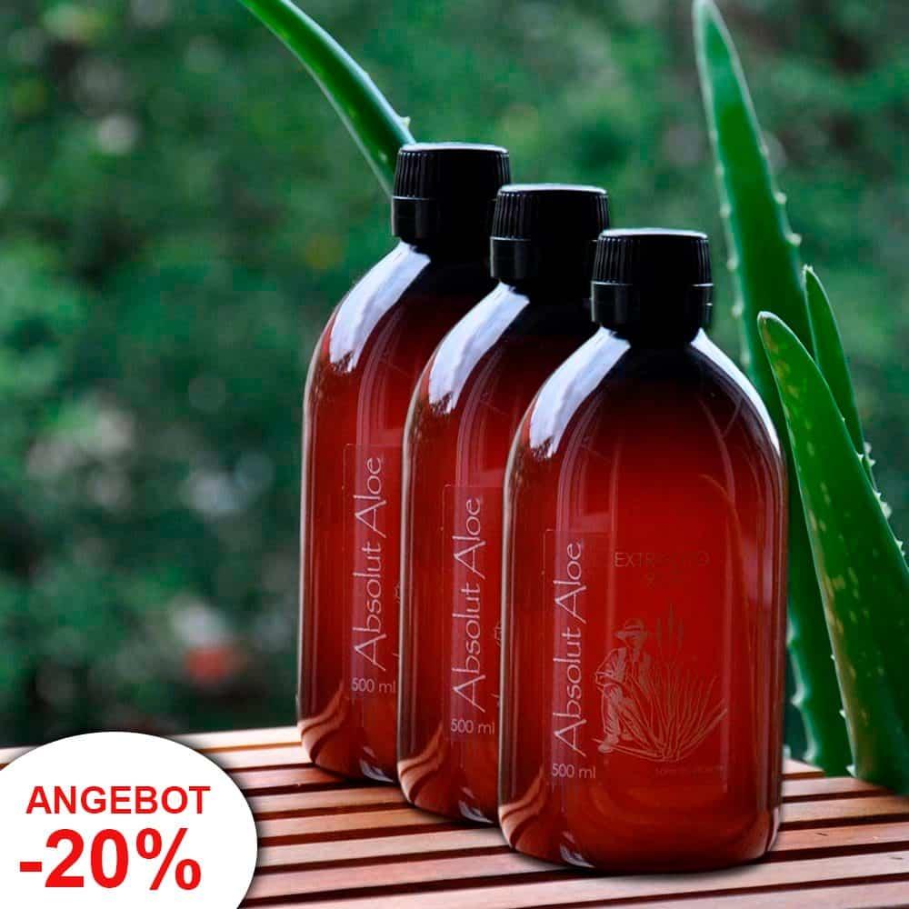 Angebot 3 Flaschen Bio Aloe Vera Saft Fuerteventura