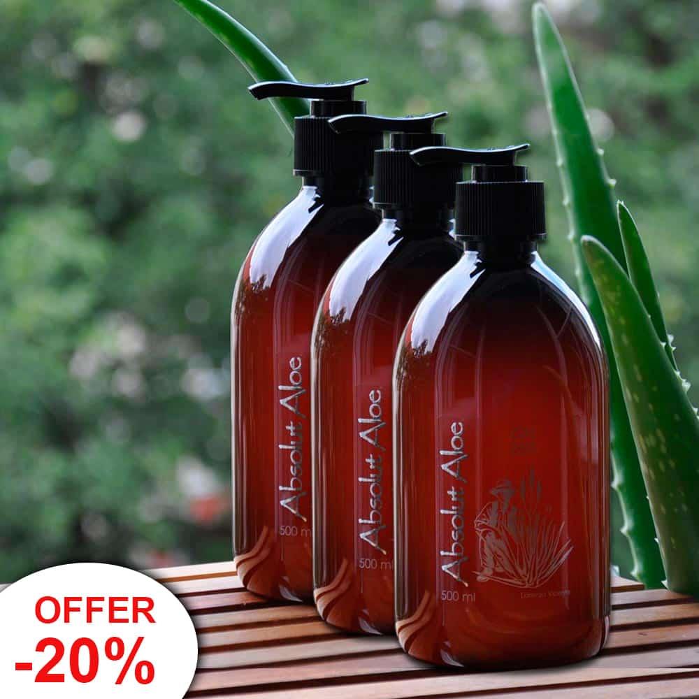 Offer 3 Bottles Organic Aloe Vera Gel Fuerteventura